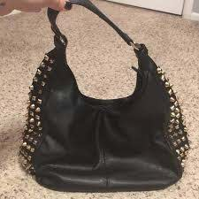 bags faux leather black studded purse