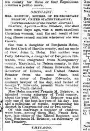Death of Mrs. Bristow, Daughter of Benjamin Helm and Polly Edwards -  Newspapers.com
