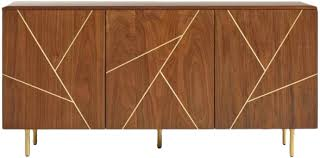Wood And Metal Inlay Dustin Cabinet | Decorist