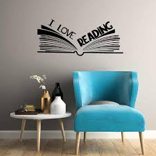 I Love Reading Wall Decal Bookstore Library Read Corner Vinyl Wall Stickers Open Book Classroom Kid Bedroom Art Mural S546 Wall Stickers Aliexpress