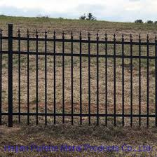 China Heavy Duty 5 Ft H X 8 Ft W Black Pre Assembled Wrought Iron Fence Panel China Wrought Iron Fence And Black Color Garrison Fencing Price