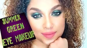 summer green eye makeup look you