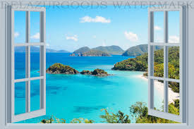 Bay Window View Wallpaper Peel And Stick Removable Etsy Tropical Wall Decals Beach Wall Murals Wall Stickers Home Decor