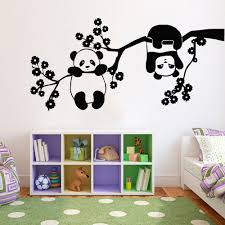 Panda Bears Wall Stickers Cute Animals Tree Branch Flowers Wall Decal Vinyl Removable Nursery Kids Room Wall Paper Art Stickers For Walls In Bedrooms Stickers For Your Wall From Joystickers 9 95 Dhgate Com