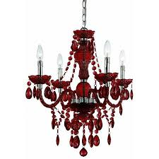 handcrafted mini chandelier in red
