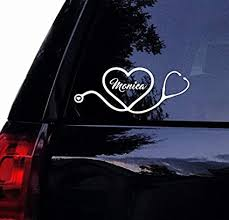 Car Window Sticker Nursing Rn Lpn Md Laptop Decal Personalized Stethoscope Heart W Name Celycasy Nurse Doctor Medical Decal Vinyl Car Decal Itrainkids Com