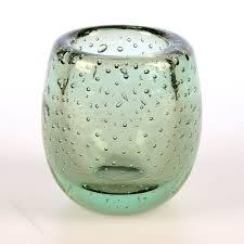 whitefriars controlled bubble glass vase