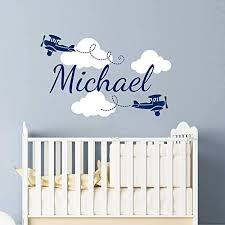 Amazon Com Personalized Name Wall Decals For Boys Custom Clouds Biplane Airplane Plane Nursery Decals Art Wall Vinyl Sticker Name For Son S Nursery Wall Decor Children Kids Room Baby Name Wall Decal Vs26