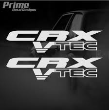 Set Of 2 Honda Crx Vtec Lettering Kit Jdm Car Vinyl Sticker Decal