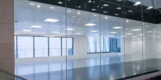 a glass partition wall or glass panels
