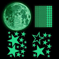 Glow In The Dark Stickers Glowing Moon Stars Dots For Ceiling And Wall Decals For Kids Room Boys Girls Bedroom Home Party Decorations Wallsymbol Com