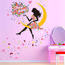 Amazon Com Girl Moon Butterfly Wall Sticker Flower Fairy Wall Decal Peel And Stick Removable Flower Fairy On The Moon Say Good Nightwall Stickers Wall Mural For Girls Nursery Bedroom Flower Fairy On