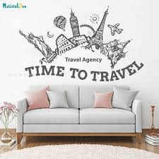 Travel Agency Hall Summer Holidays Adventure Voyage Wall Decals Sticker Home Decoration Living Room Time To Travel Kids Yt1239 Wall Stickers Aliexpress