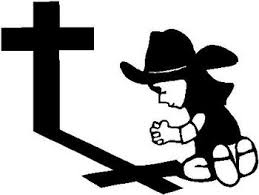 Calvin Cowgirl Praying At The Cross Vinyl Decal Sticker