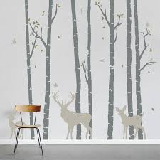 Realistic Birch Forest Tree With Birds Wall Decal Wall Sticker Trees Wall Decal
