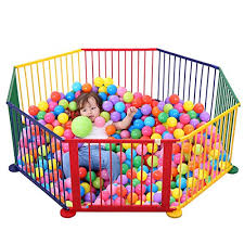 Durable Construction Wooden Jjhome Baby Toys Adorable Safety Play Center Yard Versatile Play Space Toddlers Playpen Fence Indoor Outdoor Play Space Easy Quick Assembly Of Enclosed Space