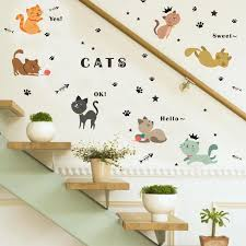 Diy Home 9 Sweet Cat Wall Sticker Kawaii Cartoon Kitty Vinyl Decal Kids Baby Nursery Bedroom Wall Sticker Decor Mural Decal Wall Stickers Aliexpress