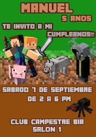 Tarjeta Invitacion Minecraft Digital Cumpleanos 150 00 En