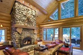 standout river rock fireplace pictures