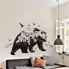 Amazon Com Ml Black Bear Wall Art Removable Wall Sticker Decals For Home Wall Flying Bird Peel And Stick Wallpaper For Living Room Porch Children Bedroom Study Classroom Nursery Camera Photo