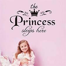 Amazon Com Qisheng The Princess Sleeps Here Wall Decal Vinyl Sticker For Kids Baby Girls Bedroom Decoration Nursery Home Decor Mural Design The Princess Sleeps Here 40cm X 30cm 15 7 X11 8 Baby