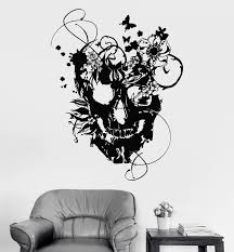 Vinyl Wall Decal Flowers Skull Art Decor Gothic Style Stickers Unique Wallstickers4you