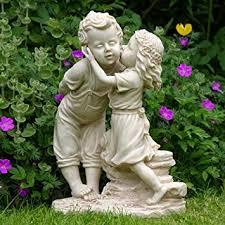 girl and boy garden statue ornament