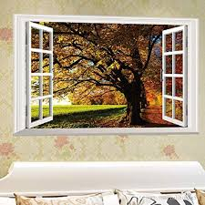 Fall Trees View 3d Window Wall Stickers Rurality Removable Creative Decal Art Home Room Mural Decor Fake Windows Big Tree Walls Wall Decals For Sale Wall Decals For The Home From Fullhouse517