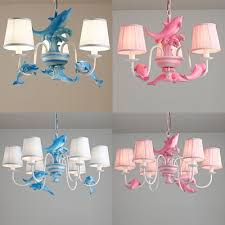 3 6 Lights Dolphin Island Chandelier Kids Room Fabric Suspension Light In Blue Pink Beautifulhalo Com