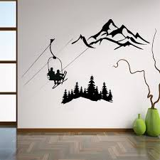 Ski Lift Wall Decal Gifts For Skiers Mountain Artwork Pine Trees Vinyl Sticker Lodge Decor Cabin Birthday Winter Home Hq307 Wall Stickers Aliexpress