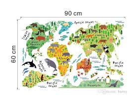 Vinyl Animal World Map Wall Sticker For Kids Rooms Bedroom Decor Pegatinas De Pared Home Decor Living Room Colorful Stickers 2017 Wall Sticks Wall Tattoos From Bunny 9 05 Dhgate Com