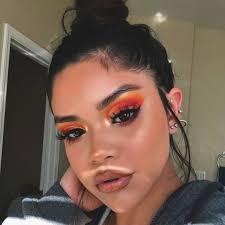 cut crease orange eye shadow eye makeup