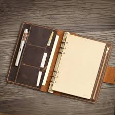 leather refillable planner binder