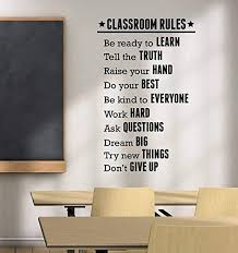 Amazon Com Classroom Rules Decal Vinyl Lettering Study Education Motivational Sticker Inspirational School Wall Vinyl Art Best College Teacher Room Decor Made In Usa Fast Delivery Home Kitchen