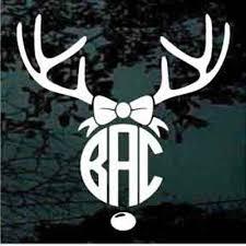 Deer Antlers Bow Monogram Monogram Vinyl Decal Monogram Decal Stickers Monogram Decal