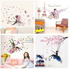 Butterfly Flower Fairy Wall Stickers For Kids Rooms Bedroom Decor Diy Cartoon Wall Decals Mural Art Pvc Posters Children S Gift Sticker For Kids Room Fairy Wall Stickerswall Stickers For Kids Aliexpress