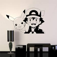 2018 Limited Pokemon Pikachu Anime Manga Vinyl Wall Decal Cartoon Home Decor Kids Room Bedroom Art Mural Stickers Sticker D562 Buy At The Price Of 5 63 In Aliexpress Com Imall Com