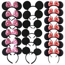 Lindo Mickey Minnie Mouse Diadema Orejas De Raton Rojo Diademas