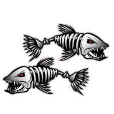 Sea Life Bedroom Decor Decals Stickers Vinyl Art Set Of 2 Skeleton Fish Bone Sticker Decal Car Window Boat Fishing 2 Styles Home Garden Home Decor