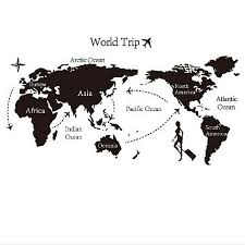 World Trip Travel Map Wall Stickers Art Vinyl Decal Home Decor Wallpaper Mural For Sale Online