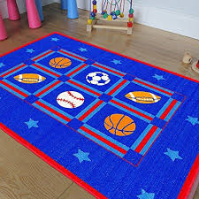 Champion Rugs Kids Baby Room Area Rug Sports Football Basketball Soccer And Baseball Bright Blue Colors 3 Ft X 5 In 2020 Kids Area Rugs Area Room Rugs Sports Rug