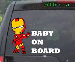 For Car Iron Man Baby On Board Vinyl Decal Sticker Window Reflective Stickers Wrap Baby Nursery Wall Stickersbaby On Board Car Stickers Aliexpress