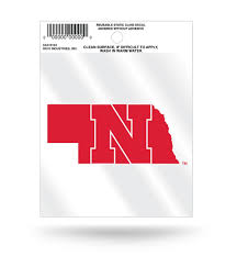 Nebraska Huskers State Outline Static Cling Decal Free Shipping Hub City Sports