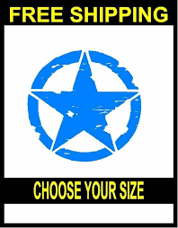 Army Jeep Distressed Star Vinyl Decal Sticker Sky Blue 3c Signs