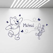 Baby Girl Boy Name Decal Winnie The Pooh With Piglet Vinyl Wall Stickers Custom Kids Names Wall Decals Bedroom Home Decor D896 Wall Stickers Aliexpress