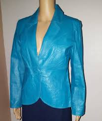 metrostyle leather jacket blue womens