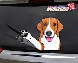 Bennie The Beagle Waving Wipertags Decal For Rear Vehicle Wiper Blades Wipertags