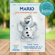 Imprimible Disney Frozen Olaf Cumpleanos Invitacion Descarga