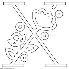Free Instant Download Modern Flower Alphabet Letter X Coloring