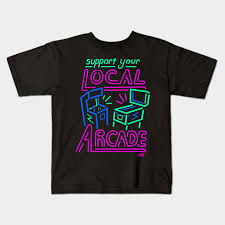 Support Your Local Arcade Neon Pinball Game Room Neon Sign Kids T Shirt Teepublic